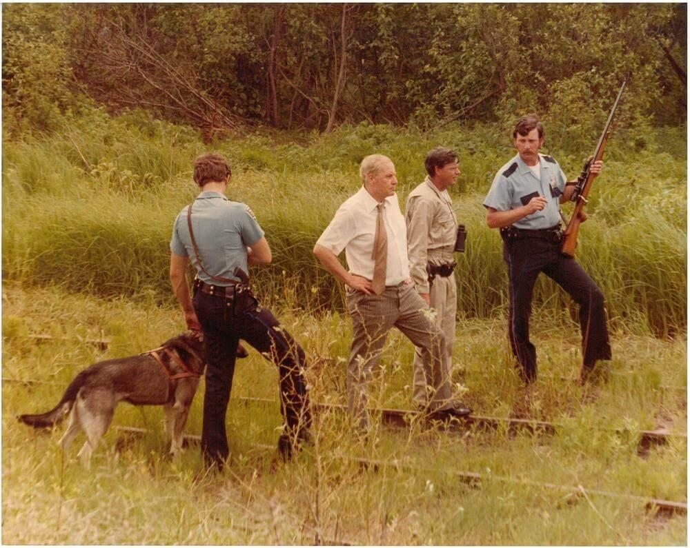 Officer and K-9s searching the woods