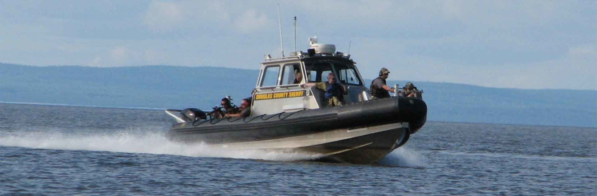 Douglas County Sheriff patrol on their boat.