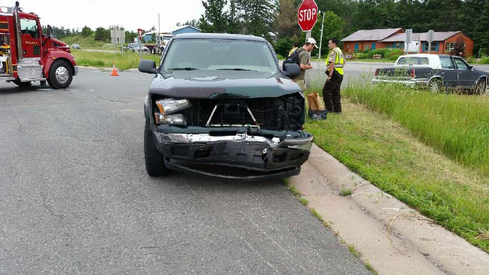 front view of suv with damage